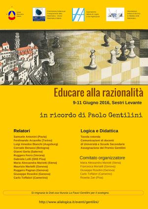 Convegno: Educare alla razionalità. Sestri Levante, 9-11 giugno 2016